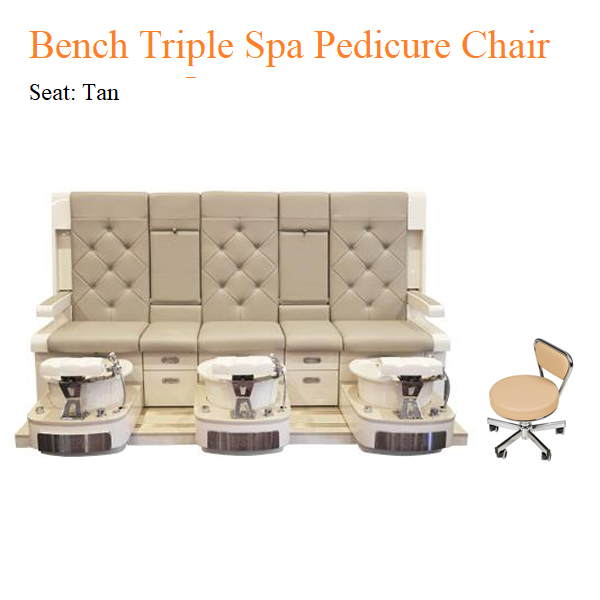 Bench Triple Luxury Spa Pedicure Chair with Magnetic Jet – No Roller Massage