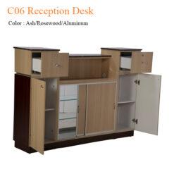 C06 Reception Desk (Ash/Rosewood/Aluminum) – 64 inches