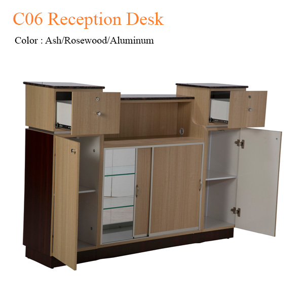 C06 Reception Desk (Ash/Rosewood/Aluminum) – 64 inches