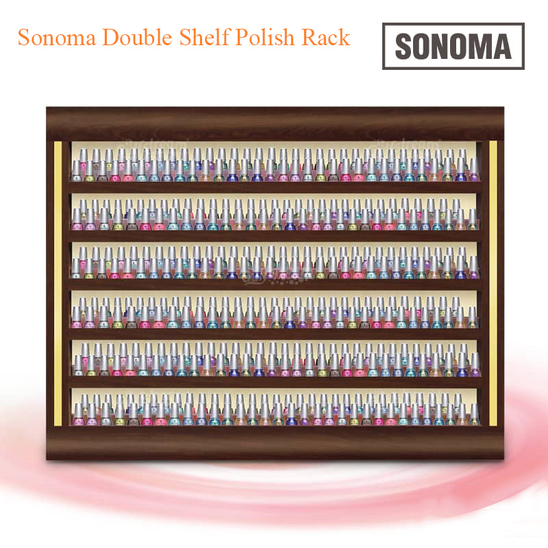 Custom Made Sonoma Double Shelf Polish Rack – 43 inches