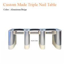 Custom Made Triple Nail Table (Aluminum/Beige) – 102 inches