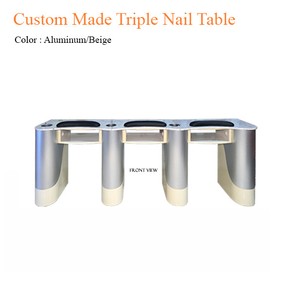 Custom Made Triple Nail Table (Aluminum/Beige) – 102 inches