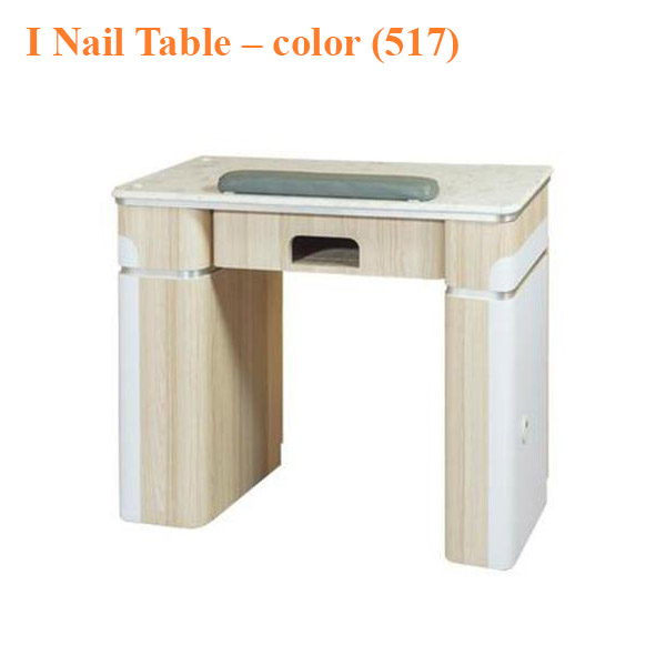 2-Tone #3 Manicure Table UV – White Fino & Guayanna Rose with Fan – 42 inches