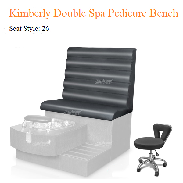 Kimberly Double Luxury Spa Pedicure Bench with Magnetic Jet – Spacious Seating