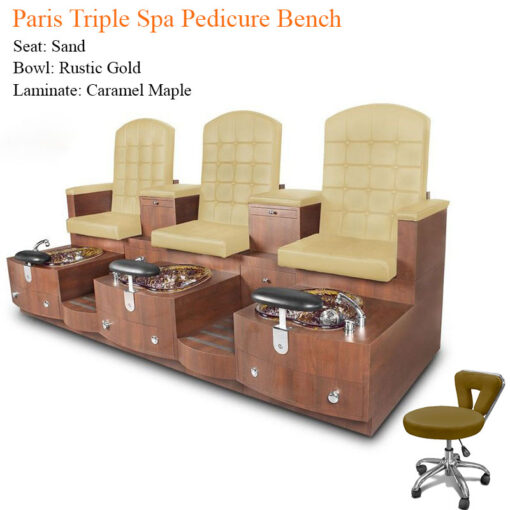 Paris Triple Luxury Spa Pedicure Bench with Magnetic Jet – Spacious Seating