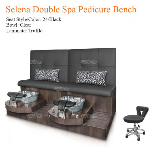 Selena Double Luxury Spa Pedicure Bench with Magnetic Jet – Spacious Seating