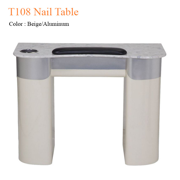 T108 Nail Table (Beige/Aluminum) – 40 inches