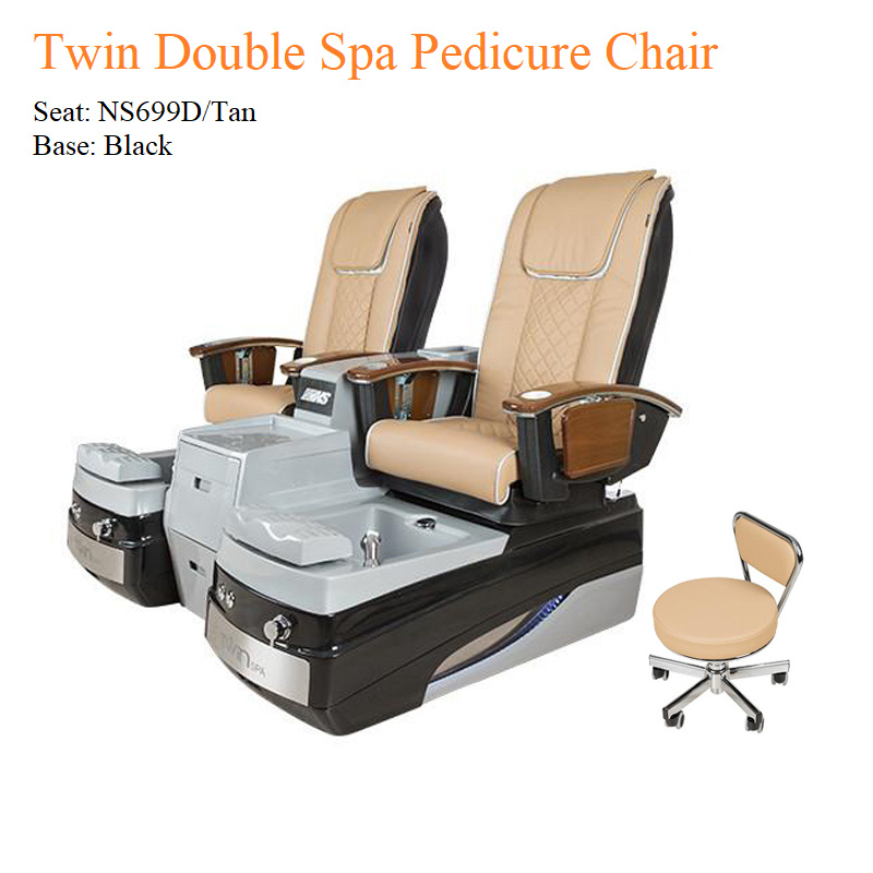 Twin Double Luxury Spa Pedicure Chair with Magnetic Jet and Built-in-Remote