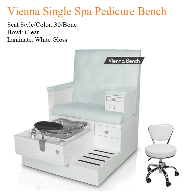 Vienna Single Luxury Spa Pedicure Bench with Magnetic Jet – Spacious Seating