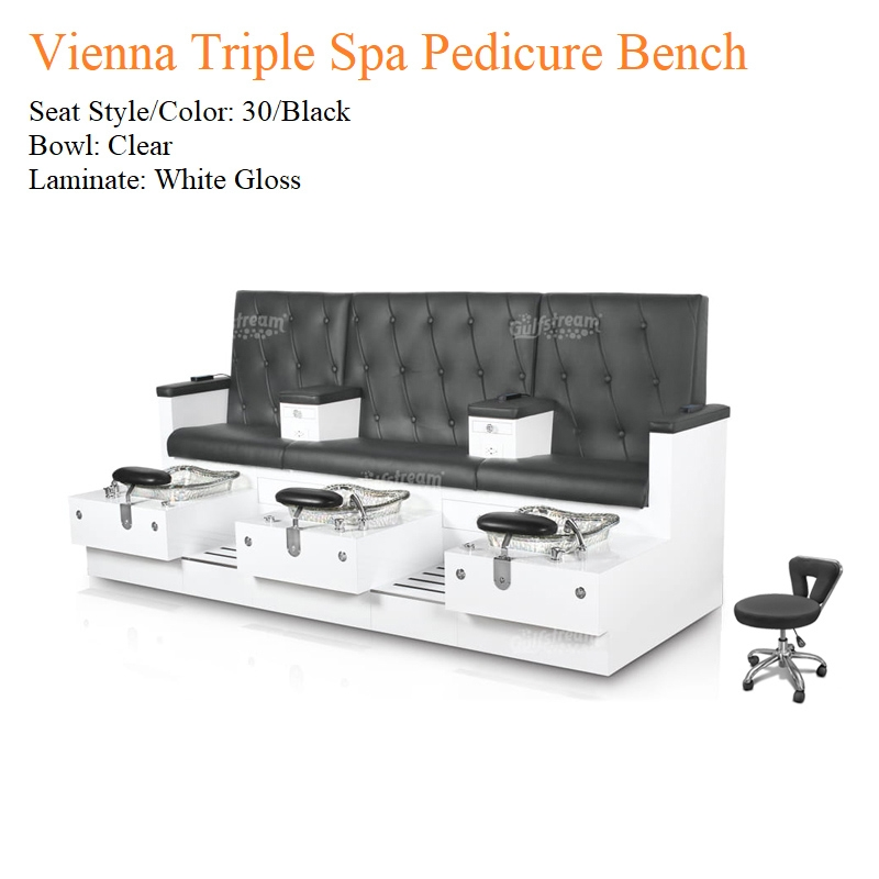 Vienna Triple Luxury Spa Pedicure Bench with Magnetic Jet – Spacious Seating
