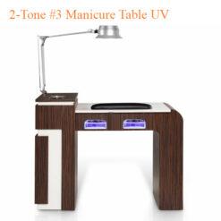 2-Tone #3 Manicure Table UV – White Fino & Guayanna Rose with Fan – 42 inches