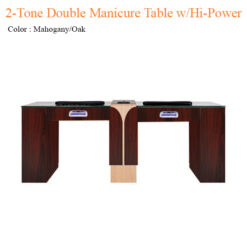 2-Tone Double Manicure Table with Hi-Power LED Light & Fan – 74 inches