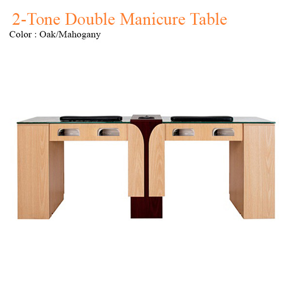 2-Tone Double Manicure Table with UV Gel Lights & Fan – 74 inches
