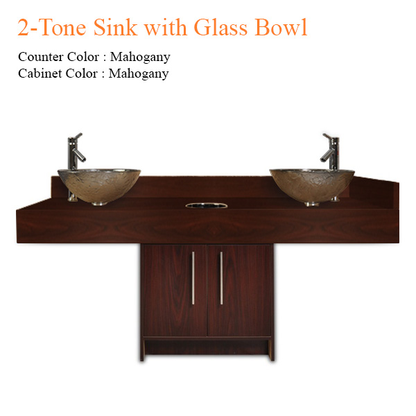 2-Tone Sink with Glass Bowl – 72 inches