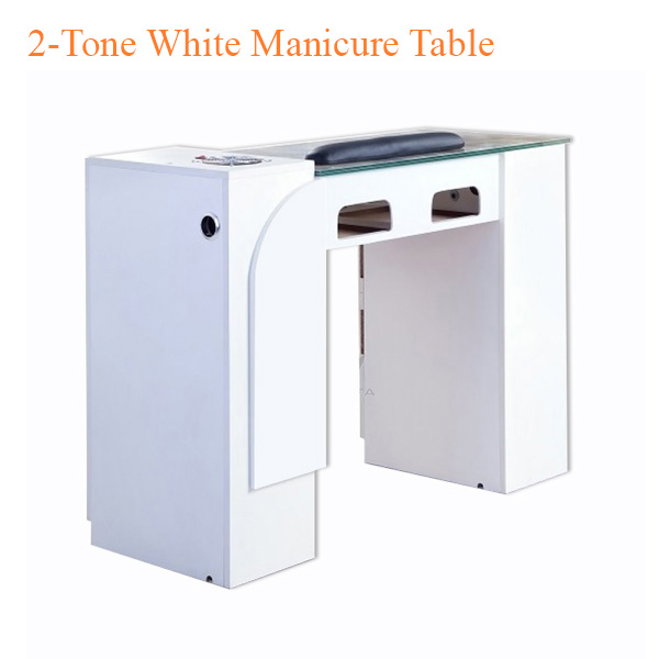 2-Tone White Manicure Table with UV Gel Lights & Fan – 74 inches