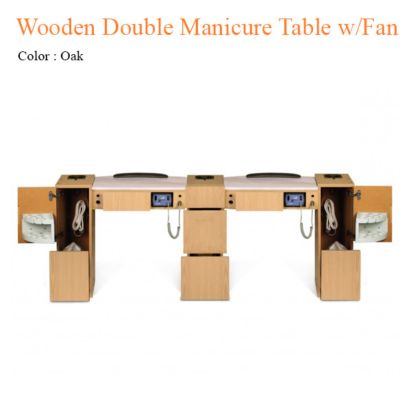 Wooden Double Manicure Table with Fan – 74 inches
