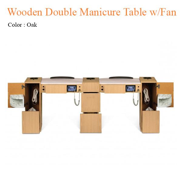 Bàn Nail Đôi Wooden Với Hệ Thống Quạt – 74 Inches