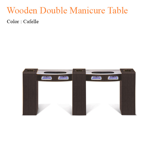 Wooden Double Manicure Table with UV Gel Lights & Fan – 74 inches