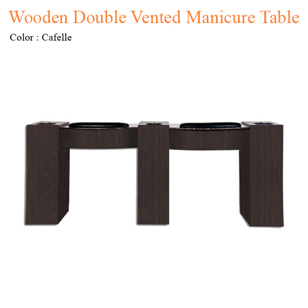 Wooden Double Vented Manicure Table with Fan – 74 inches