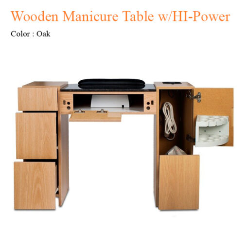 Wooden Manicure Table with HI-Power LED Light & Fan – 42 inches
