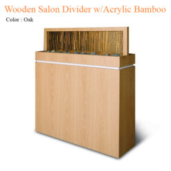 Wooden Salon Divider with Acrylic Bamboo – 54 inches