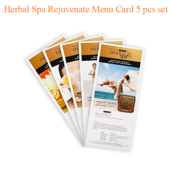 Herbal Spa Rejuvenate Menu Card 5 pcs set
