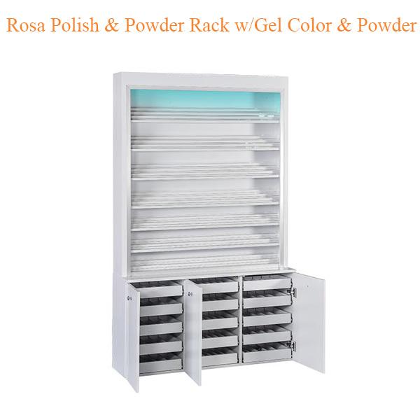 Rosa Polish Powder Rack w Gel Color Powder Cabinet w LED Light 80inches 0 - Top Selling