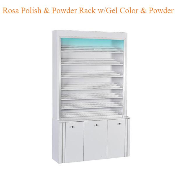 Rosa Polish Powder Rack w Gel Color Powder Cabinet w LED Light 80inches - Top Selling