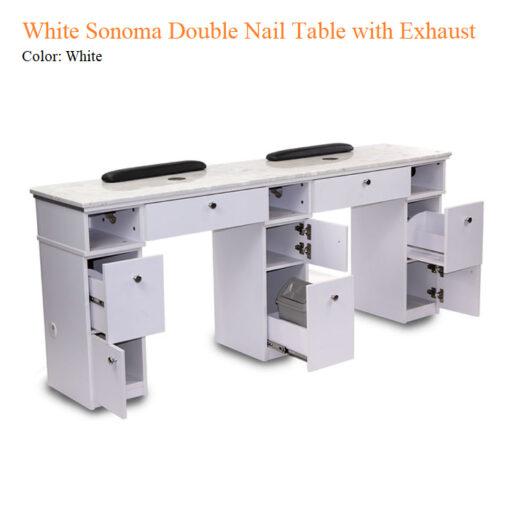Bàn Nail Đôi White Sonoma Với Lỗ Thoát Hơi – 72 inches