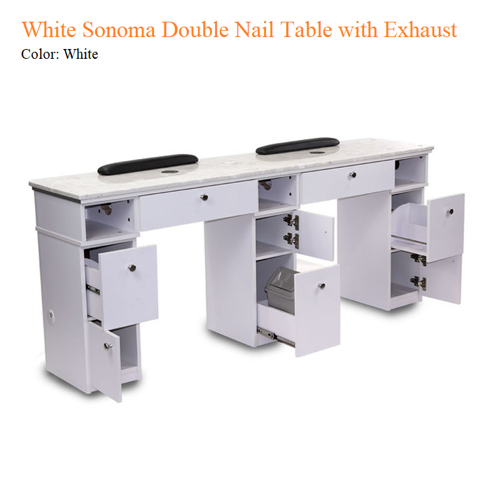 White Sonoma Double Nail Table with Exhaust – 72 inches