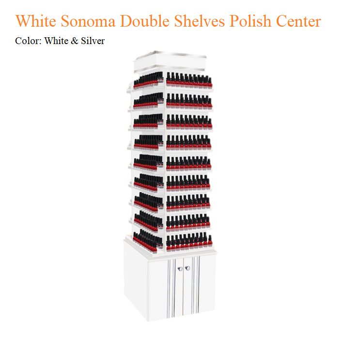 White Sonoma Double Shelves Polish Center with 360 Degree Swivel
