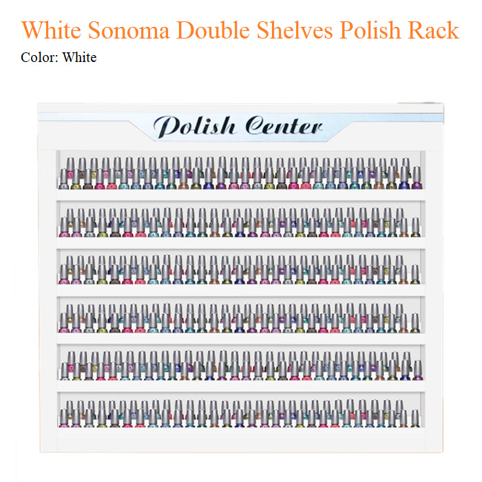 White Sonoma Double Shelves Polish Rack