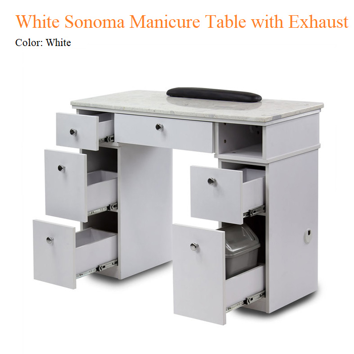 White Sonoma Manicure Table with Exhaust