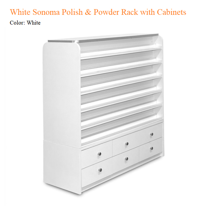 White Sonoma Polish & Powder Rack with Cabinets