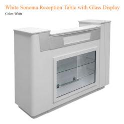 White Sonoma Reception Table with Glass Display 1 247x247 - Thiết bị đồ nội thất tiệm nail làm móng tay móng chân