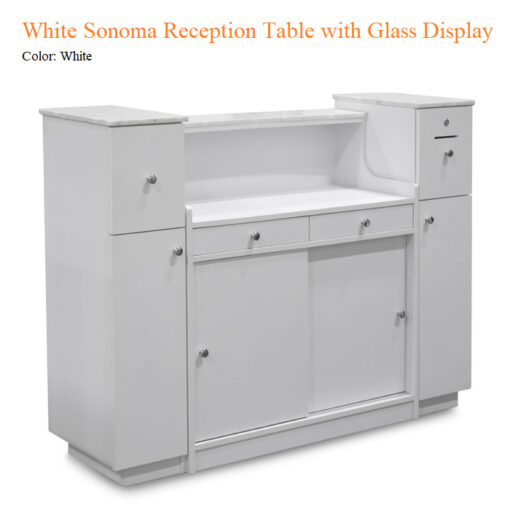 White Sonoma Reception Table with Glass Display