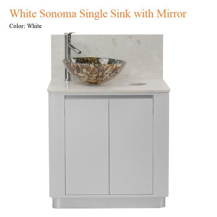 White Sonoma Single Sink with Mirror