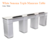 White Sonoma Triple Manicure Table With Exhaust