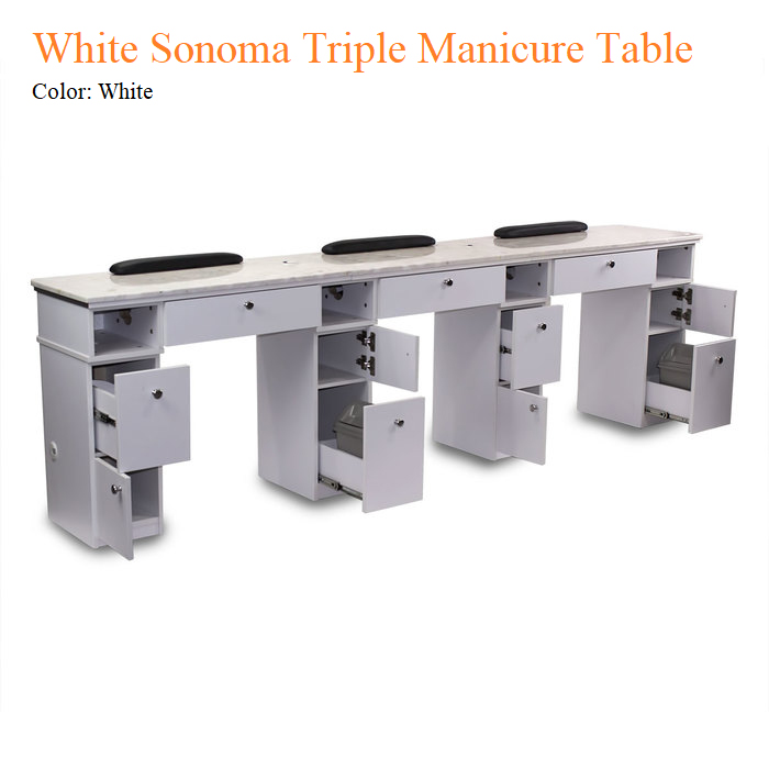 White Sonoma Triple Manicure Table