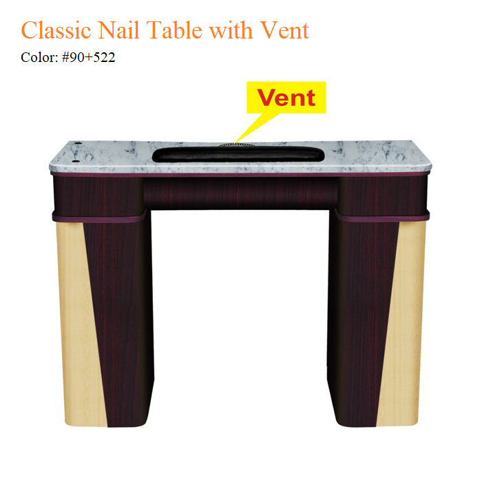 Classic Nail Table with Vent – White Stone Marble