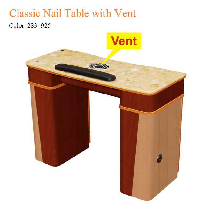 Classic Nail Table with Vent – Yellow Marble