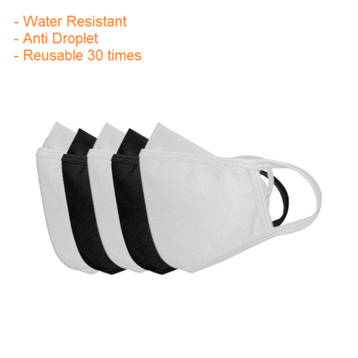 3H Water Resistant Face Mask (Pack of 5) – Anti Droplet – Reusable – White Color